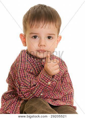 Small Boy Pointing Forward