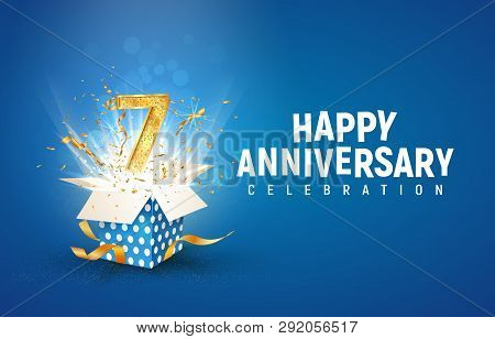 7 Th Years Anniversary Banner With Open Burst Gift Box. Template Seventh Birthday Celebration And Ab