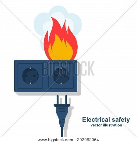 Socket In Fire. Flame Plug. Electric Circuit Broken. Overload Electrical Connection. Vector Illustra