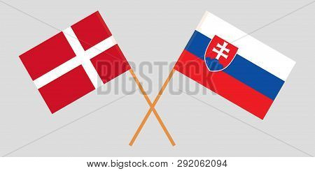 Slovakia And Denmark. The Slovakian And Danish Flags. Official Colors. Correct Proportion. Vector Il