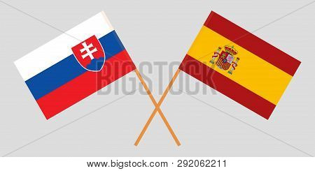 Slovakia And Spain. The Slovakian And Spanish Flags. Official Colors. Correct Proportion. Vector Ill