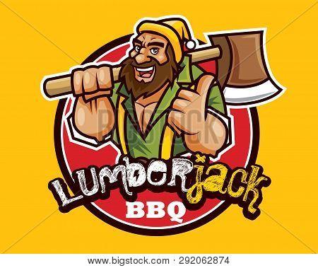 Cartoon Lumberjack Wears A Beanie Hat And Holds A Ax On Shoulder. Bearded Lumberjack Woodcutter Bbq