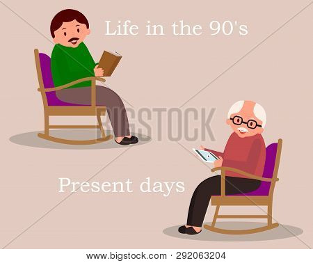 Concept Of Past And Future. Man Sitting In Rocking Chair. Young Man Reading Newspaper. Cute Man At H