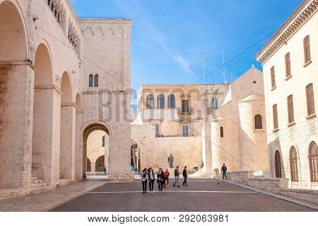 Bari, Italy - March 7 2019: San Nicola Church, Saint Nicholas, Bari Old Medieval Town, Puglia, Italy