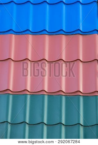 Metal Tin Roof, Examples Of Different Colors - Red, Blue, Green.