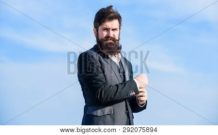 Success Concept. Brutal Caucasian Hipster With Moustache. Bearded Man. Future Success. Confident And