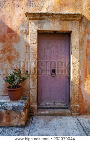 Door In A Monastery In Chania Region On Crete Island, Greece.