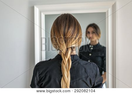 Woman Girl With Ombre Hairstyle In Braid In Front Of Mirror