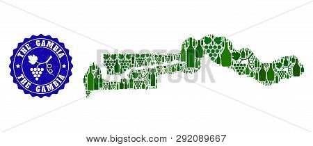 Vector collage of wine map of the Gambia and grape grunge stamp. Map of the Gambia collage created with bottles and grape berries bunches. poster
