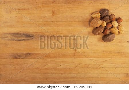 Mixed Nuts On Butcher Block
