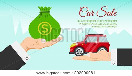 Buying Or Renting New Or Used Red Car Banner Vector Illustration. Car In Buyer Hand. Car Sale. Moder