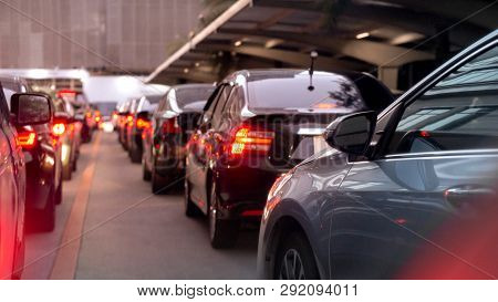 Transportation Vehicle And Traffic Concept - Blurred Traffic Jam And Car Brake Light In Bangkok, Tha