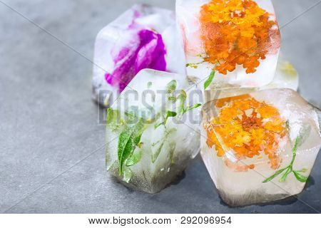 Homemade Ice Cubes With Frozen Herbs Plants Flowers. Facial Skin Care Beauty Spa Anti-aging Concept.