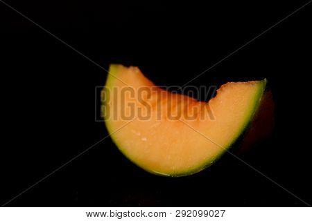 Hybrid Cantaloupe Honeydew Melon Sliced With Seeds