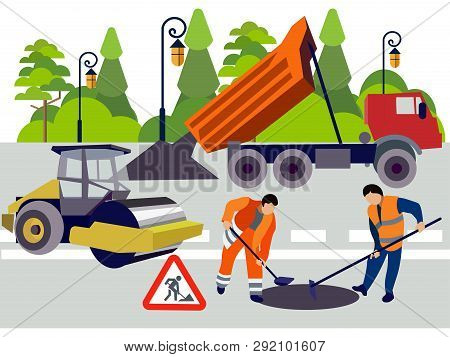 Employees Of Road Works. Equipment And Materials For Repair. In Minimalist Style. Flat Isometric Vec