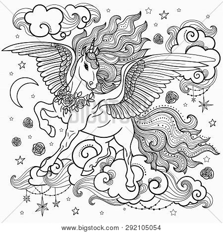 Beautiful Unicorn With A Long Mane. Black And White. For Coloring. For The Design Of Graphic Prints,