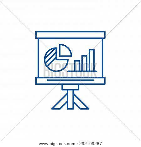Presentation Board Line Icon Concept. Presentation Board Flat  Vector Symbol, Sign, Outline Illustra