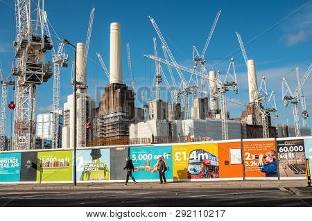 London, Uk - 31 October 2018: Redevelopment Work To Battersea Power Station. Hoarding Illustrates Th
