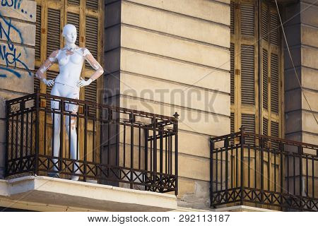 Athens, Greece - May 14, 2018: Disused Mannequin On A Balcony Of An Abandoned Neoclassical Building