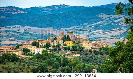 Cityscape Of An Old Town In Maremma Region In Tuscany Seen From The Hill, Maremma Italy.