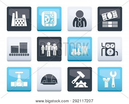 Business, Factory And Mill Icons Over Color Background - Vector Icon Set