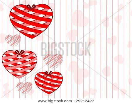 Beautiful hanging heart shapes gift with ribbon  on seamless heart shape and line background for Valentines Day and other occasions.