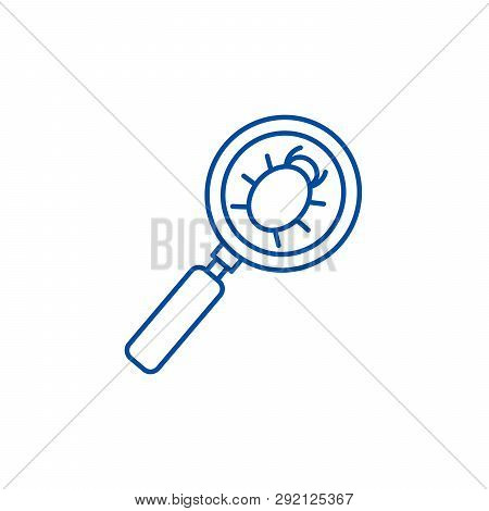 Searching Bug Line Icon Concept. Searching Bug Flat  Vector Symbol, Sign, Outline Illustration.