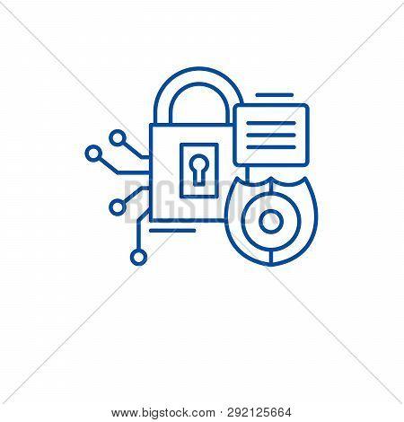 Security Framework Line Icon Concept. Security Framework Flat  Vector Symbol, Sign, Outline Illustra