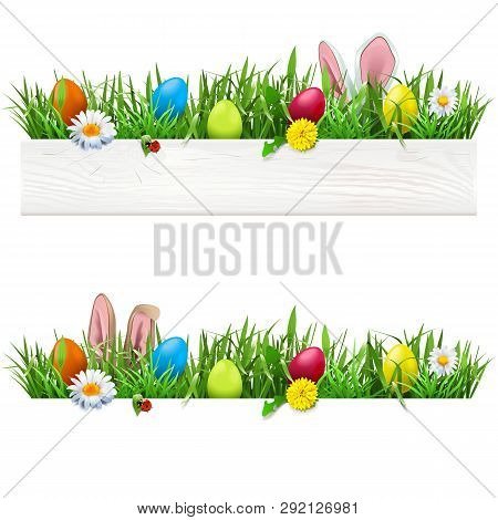 Vector Easter Border With Grass Isolated On White Background