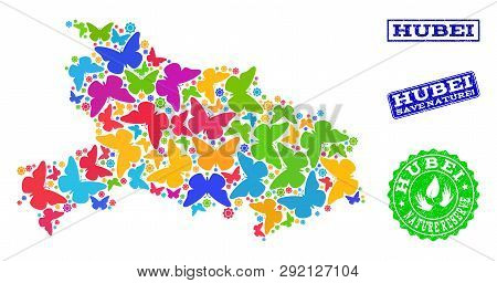 Ecological Collage Of Bright Mosaic Map Of Hubei Province And Grunge Stamps With Save Nature Caption