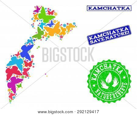 Eco Friendly Collage Of Bright Mosaic Map Of Kamchatka Peninsula And Rubber Seal Stamps With Nature