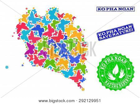 Ecological Combination Of Bright Mosaic Map Of Ko Pha Ngan And Rubber Seal Stamps With Nature Reserv