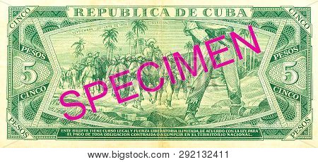 A Single 5 Cuban Peso Bank Note Reverse Specimen