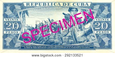 A Single 20 Cuban Peso Bank Note Reverse Specimen