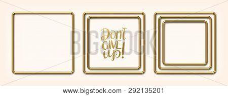 Set Of Golden Square Frames Vector Illustration
