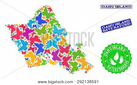 Eco Friendly Combination Of Bright Mosaic Map Of Oahu Island And Unclean Seals With Save Nature Capt