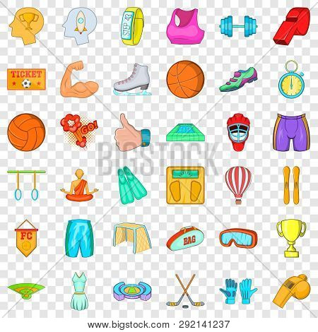 Healthy Lifestyle Icons Set. Cartoon Style Of 36 Healthy Lifestyle Icons For Web For Any Design