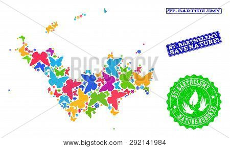 Eco Friendly Composition Of Bright Mosaic Map Of Saint Barthelemy And Scratched Seals With Save Natu