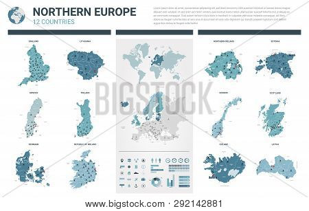 Vector Map Set.  High Detailed 12 Map Of Northern Europe Countries With Administrative Division And