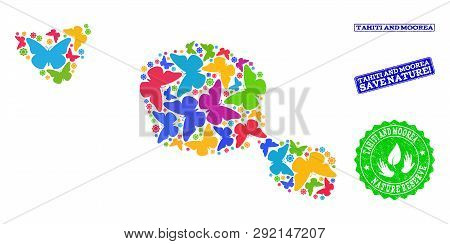 Ecological Composition Of Bright Mosaic Map Of Tahiti And Moorea Islands And Rubber Stamps With Save