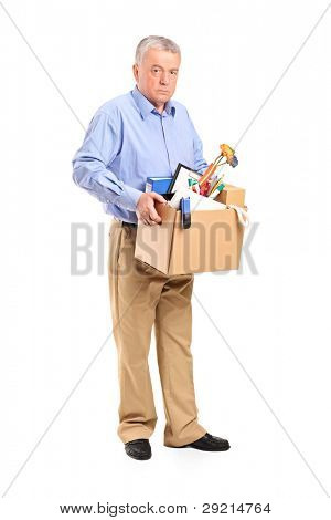 Full length portrait of a fired man carrying a box of personal items isolated on white background