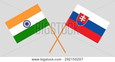 Slovakia And India. The Slovakian And Indian Flags. Official Colors. Correct Proportion. Vector Illu