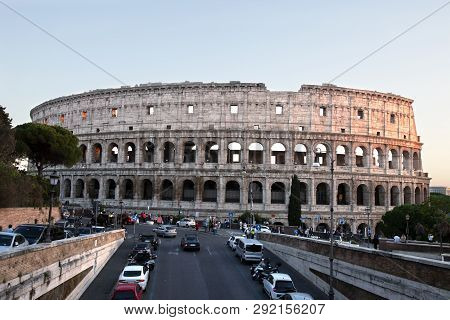 Looking Down The Street At The Colosseum In Rome Italy
