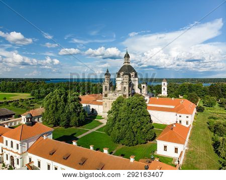 Aerial View Of Pazaislis Monastery And Church, The Largest Monastery Complex In Lithuania, Located O