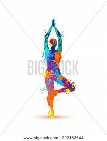 Yoga Asana Vrikshasana. Tree Pose. Silhouette Of Watercolor Splash Paint