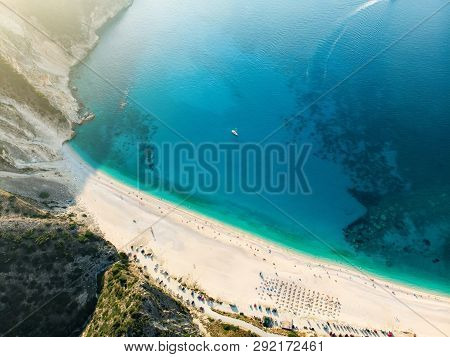 Aerial Top Down View Of Myrtos Beach, The Most Famous And Beautiful Beach Of Kefalonia, A Large Coas
