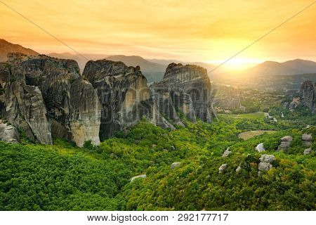 Panoramic View Of Meteora Valley, A Rock Formation In Central Greece Hosting One Of The Largest Comp