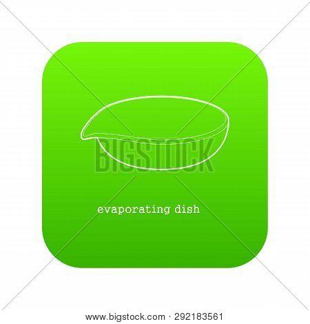 Evaporating Dish Icon Green Isolated On White Background
