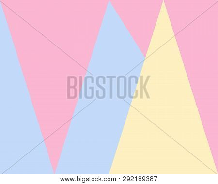 Yellow Blue Pink Vector Blurred Rectangular Background. Geometric Background With Triangle Style Wit