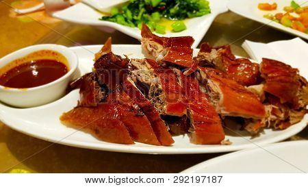 Peking Duck With Sauce. Peking Duck Is A Chinese Dish From Beijing (peking). Chinese Cuisine